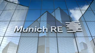 Editorial, Munich Reinsurance Company logo on glass building.
