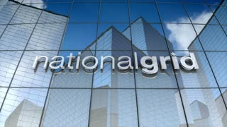 Editorial, National Grid plc logo on glass building.