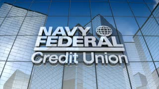 Editorial, Navy Federal Credit Union logo on glass building.