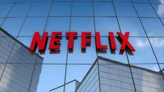 Editorial, Netflix logo on glass building