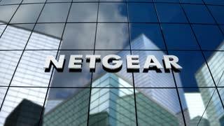 Editorial, Netgear Inc. logo on glass building.
