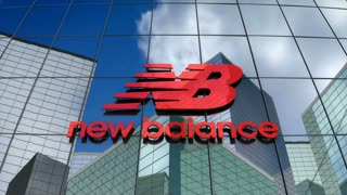 Editorial, New Balance Athletics, Inc. logo on glass building.