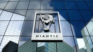 Editorial, Niantic, Inc. logo on glass building.