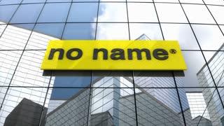 Editorial, No Name logo on glass building.
