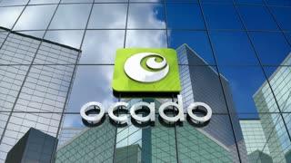 Editorial, Ocado logo on glass building.