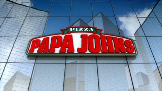Editorial, Papa John's Pizza logo on glass building.