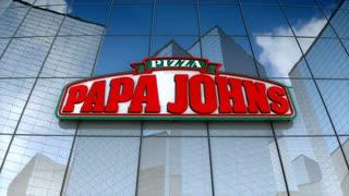 Editorial, Papa John's Pizza logo on glass building.