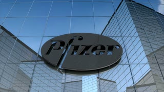 Editorial Pfizer logo on glass building.