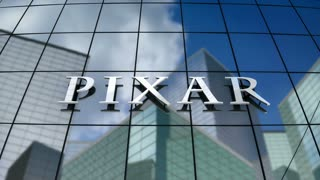Editorial, Pixar Animation Studios logo on glass building.