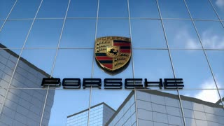 Editorial, Porsche AG logo on glass building