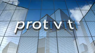 Editorial, Protiviti logo on glass building.