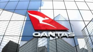 Editorial, Qantas Airways logo on glass building.