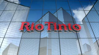 Editorial, Rio Tinto Group logo on glass building.