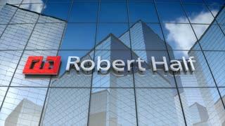 Editorial, Robert Half logo on glass building.