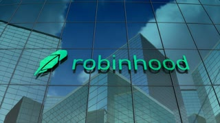 Editorial, Robinhood Markets Inc. logo on glass building.