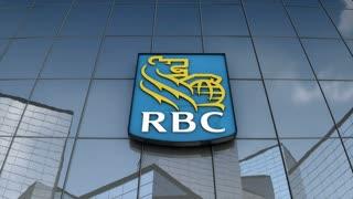 Editorial Royal Bank Canada logo on glass building.