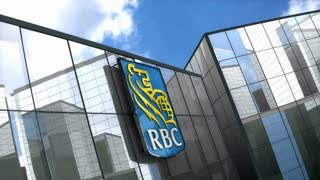 Editorial Royal Bank Canada logo on glass building.