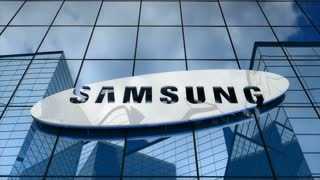 Editorial, Samsung logo on glass building.