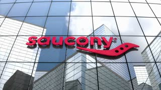 Editorial, Saucony logo on glass building.