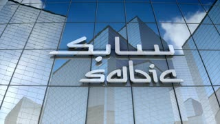 Editorial, Saudi Basic Industries Corporation logo on glass building.