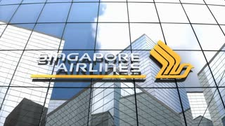 Editorial, Singapore Airlines Limited logo on glass building.