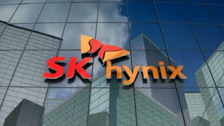 Editorial, SK hynix Inc. logo on glass building.