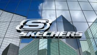Editorial, Skechers USA Inc. logo on glass building.
