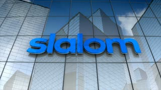 Editorial, Slalom logo on glass building.