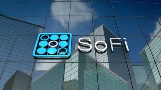 Editorial, Social Finance Inc. logo on glass building.