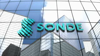 Editorial, Sonde Health logo on glass building.