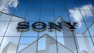 Editorial, Sony Corporation logo on glass building.