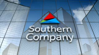 Editorial, Southern Company logo on glass building.