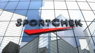 Editorial, Sport Chek logo on glass building.