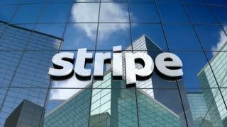 Editorial, Stripe logo on glass building.