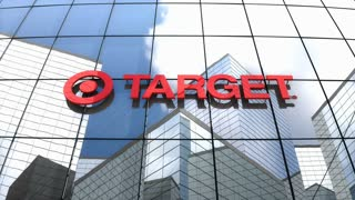 Editorial, Target Corporation logo on glass building.