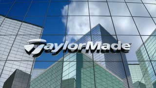 Editorial, TaylorMade Golf Company logo on glass building.