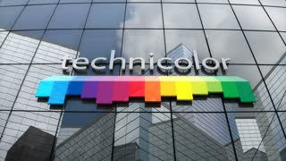 Editorial, Technicolor SA logo on glass building.