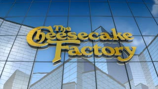 Editorial, The Cheesecake Factory logo on glass building.