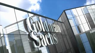 Editorial, The Goldman Sachs Group Inc. logo on glass building.