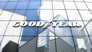 Editorial, The Goodyear Tire & Rubber Company logo on glass building.