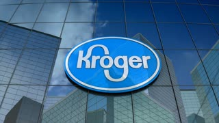 Editorial, The Kroger Company logo on glass building.