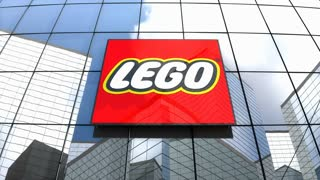 Editorial,  The Lego Group logo on glass building.