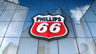 Editorial, The Phillips66 Company logo on glass building.