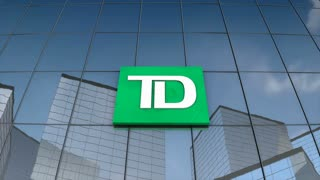 Editorial Toronto Dominion Bank logo on glass building.