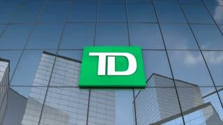 Editorial Toronto Dominion Bank logo on glass building.