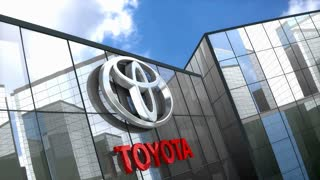 Editorial, Toyota logo on glass building.