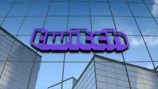 Editorial, Twitch logo on glass building