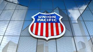 Editorial, Union Pacific Railroad logo on glass building.