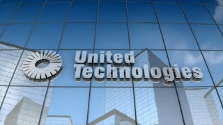 Editorial, United Technologies Corporation logo on glass building.