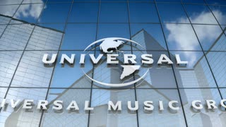 Editorial, Universal Music Group logo on glass building.